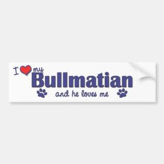 Amo mi Bullmatian el perro masculino Pegatina De Parachoque