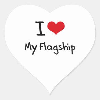 Amo mi buque insignia pegatina de corazon personalizadas