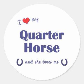 Amo mi caballo cuarto (el caballo femenino) pegatina redonda