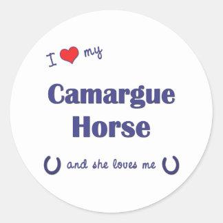 Amo mi caballo de Camargue el caballo femenino Etiqueta