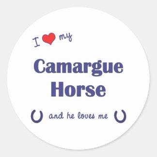 Amo mi caballo de Camargue el caballo masculino Pegatinas Redondas