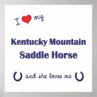Amo mi caballo de silla de montar de la montaña de posters