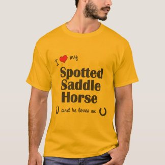 Amo mi caballo de silla de montar manchado (el playera