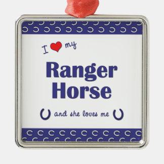 Amo mi caballo del guardabosques (el caballo adorno cuadrado plateado
