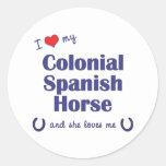 Amo mi caballo español colonial (el caballo etiquetas redondas