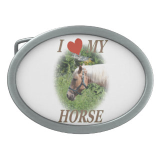 Amo mi caballo hebillas de cinturon ovales