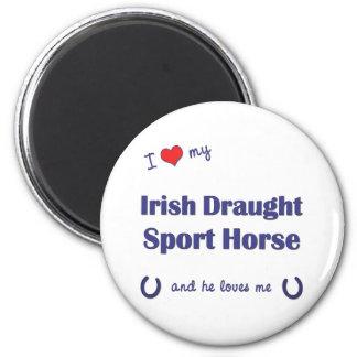 Amo mi caballo irlandés del deporte del proyecto ( imán redondo 5 cm