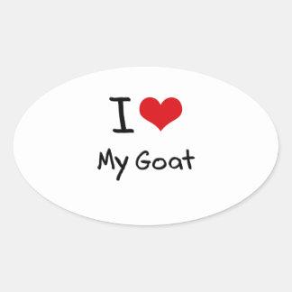 Amo mi cabra calcomanía ovalada