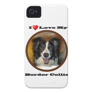 Amo mi caja de la zarzamora del border collie iPhone 4 cárcasas