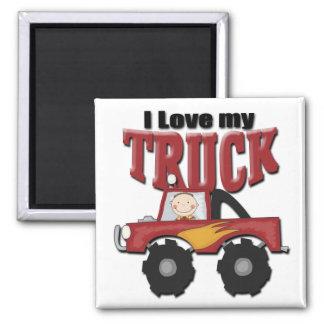 Amo mi camión imán cuadrado