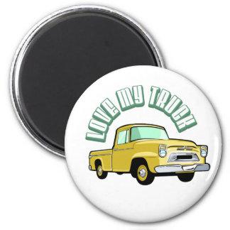 Amo mi camión - viejo, recogida amarilla clásica imanes