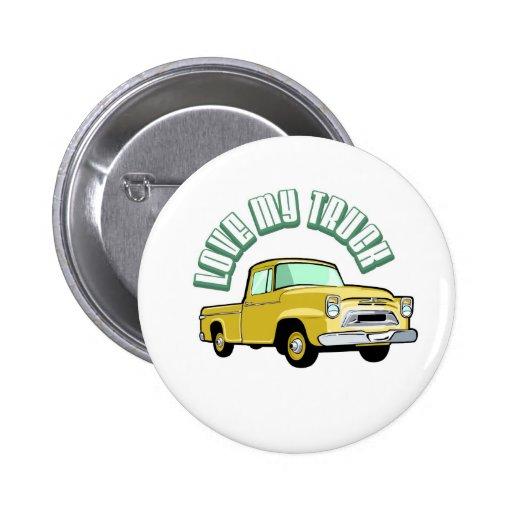 Amo mi camión - viejo, recogida amarilla clásica pin redondo de 2 pulgadas