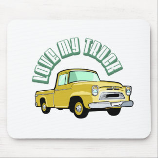Amo mi camión - viejo, recogida amarilla clásica alfombrillas de raton