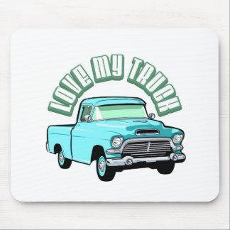 Amo mi camión - viejo, recogida azul clásica tapete de ratones