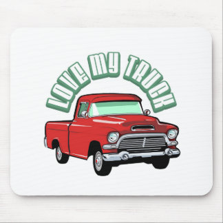Amo mi camión - viejo, recogida roja clásica mousepad