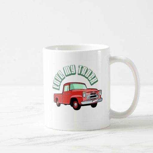 Amo mi camión - viejo, recogida roja clásica taza clásica