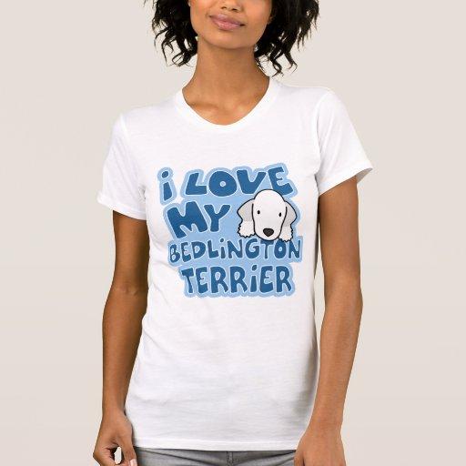 Amo mi camiseta de Bedlington Terrier Playeras