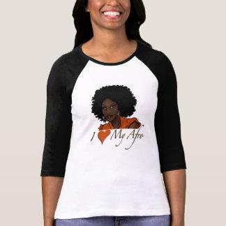 Amo mi camiseta de la manga del negro del Afro Playera