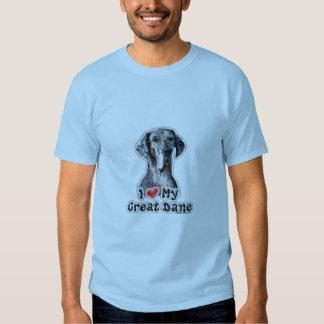 Amo mi camiseta de la silla de montar de great dan playeras
