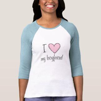 Amo mi camiseta del béisbol del novio playeras