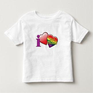 Amo mi camiseta del niño de dos mamáes