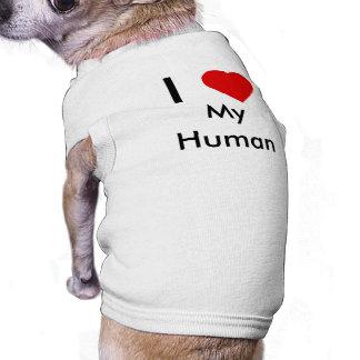 Amo mi camiseta humana del perro ropa perro