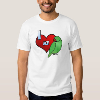 Amo mi camiseta india del Parakeet de Ringneck Playeras