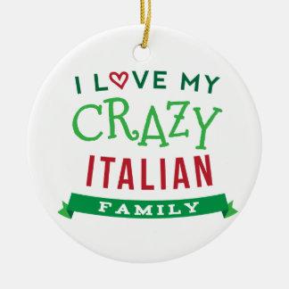 Amo mi camiseta italiana loca Ide de la reunión de Adorno Navideño Redondo De Cerámica