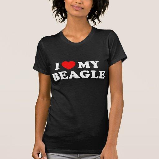 Amo mi camiseta menuda de las señoras del beagle