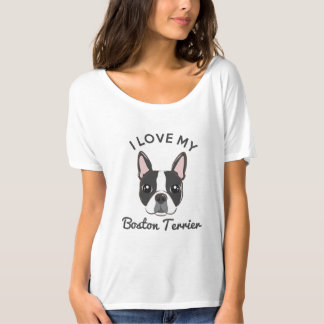"""Amo mi camiseta para mujer de Boston Terrier"" Poleras"