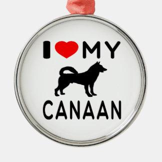 Amo mi Canaan Adorno Redondo Plateado