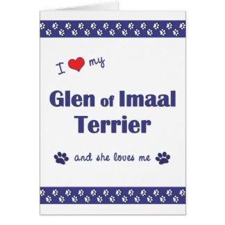 Amo mi cañada de Imaal Terrier (el perro femenino) Tarjeta Pequeña