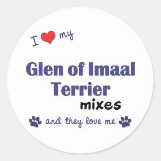 Amo mi cañada de las mezclas de Imaal Terrier (los Pegatina Redonda