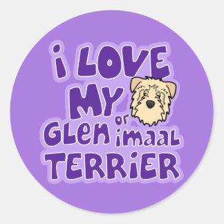 Amo mi cañada de trigo de Imaal Terrier Pegatina Redonda