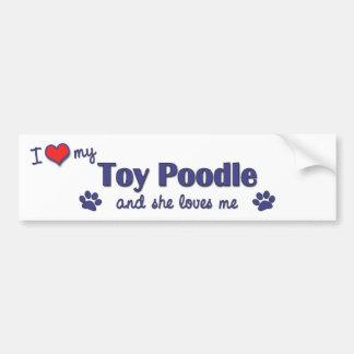 Amo mi caniche de juguete (el perro femenino) pegatina para auto