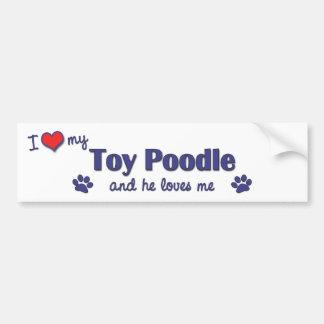 Amo mi caniche de juguete (el perro masculino) pegatina para auto