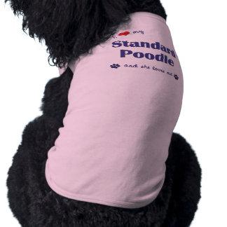 Amo mi caniche estándar (el perro femenino) playera sin mangas para perro