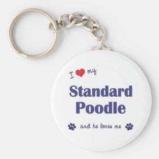 Amo mi caniche estándar (el perro masculino) llavero redondo tipo pin