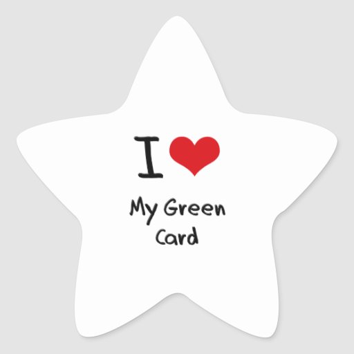 Amo mi carta verde calcomania cuadrada personalizada