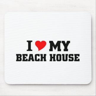 Amo mi casa de playa alfombrillas de ratón