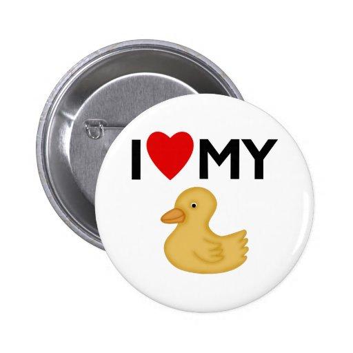 Amo mi caucho Ducky Pin Redondo De 2 Pulgadas