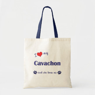 Amo mi Cavachon (el perro femenino) Bolsas Lienzo