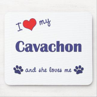 Amo mi Cavachon (el perro femenino) Tapete De Ratón