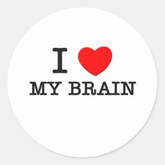Amo mi cerebro pegatina redonda