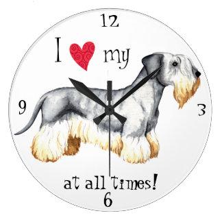 Amo mi Cesky Terrier Reloj Redondo Grande