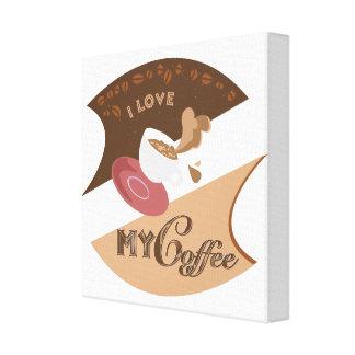 Amo mi chapoteo retro de Java del comensal del caf Lona Estirada Galerías