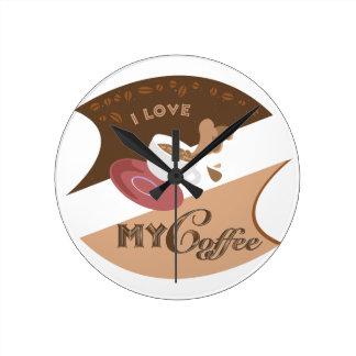 Amo mi chapoteo retro de Java del comensal del caf Relojes De Pared