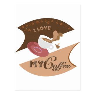 Amo mi chapoteo retro de Java del comensal del Postales