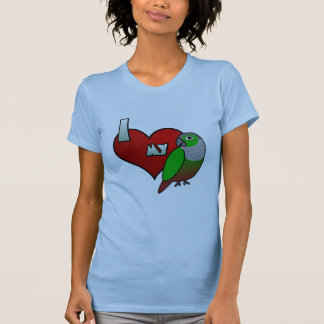 Amo mi Cheeked verde Conure Camiseta