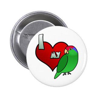 Amo mi Cheeked verde el Amazonas Pin Redondo 5 Cm